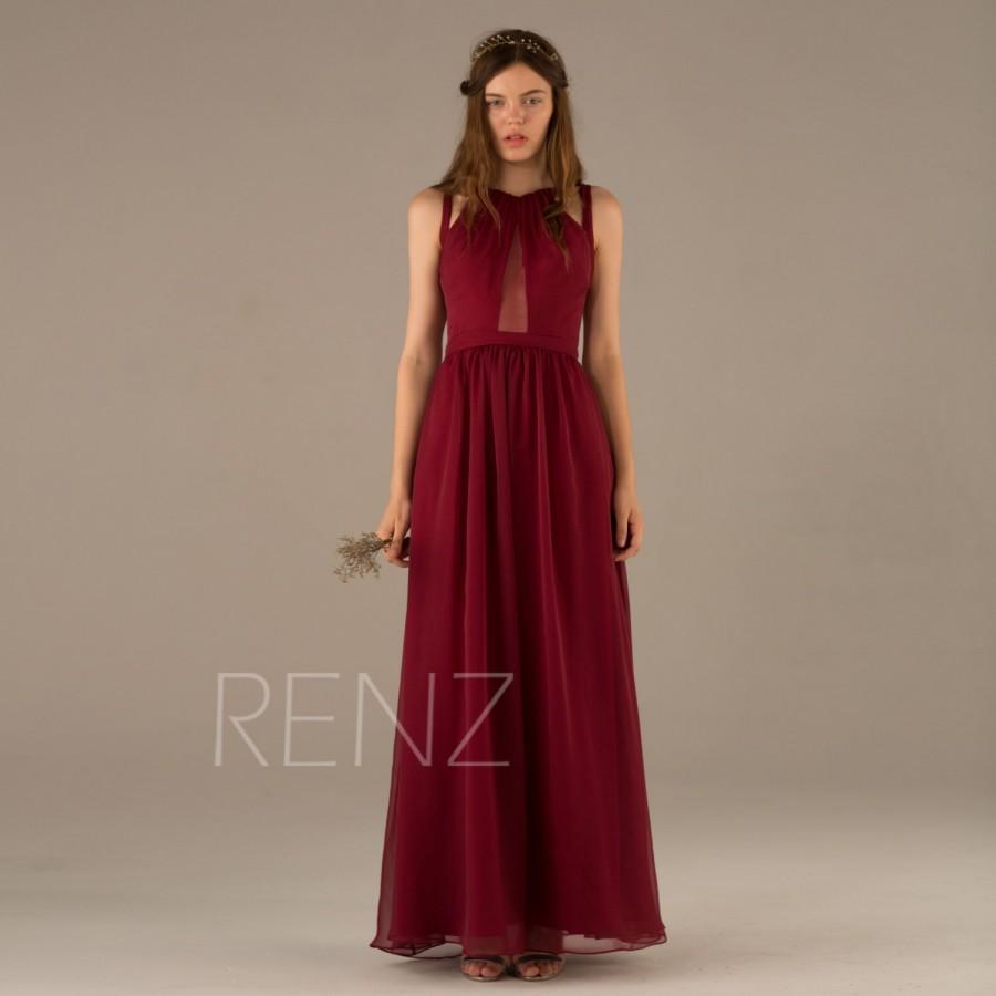 2015 wine bridesmaid dress dark red prom dress chiffon for Dark red wedding dress