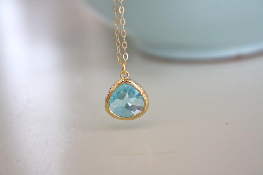 Свадьба - Gold Necklace, Aqua Necklace, Aqua Gold, Bridesmaid Necklace, Dainty Gold Necklace, Bridesmaid Jewelry, Bridesmaid Gifts, March Birthstone
