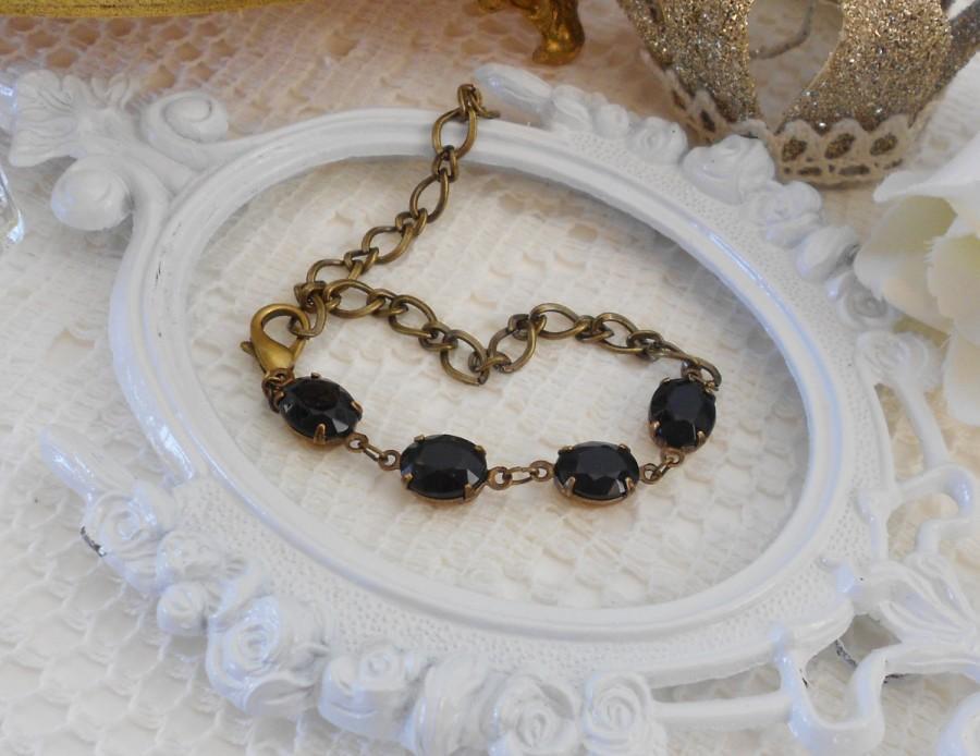 Wedding - Adjustable Crystal Bracelet, Black Bracelet, Vintage Crystal Bracelet, Estate Jewelry, Black Glass Bracelet, Rhinestone and Chain Bracelet