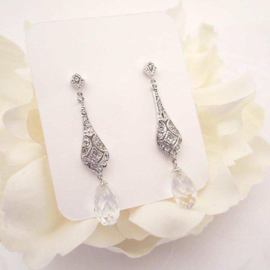 زفاف - Crystal bridal earrings, Long Wedding earrings, Art Deco earrings, Bridal jewelry, Simple earrings, Rhinestone earrings, Vintage style