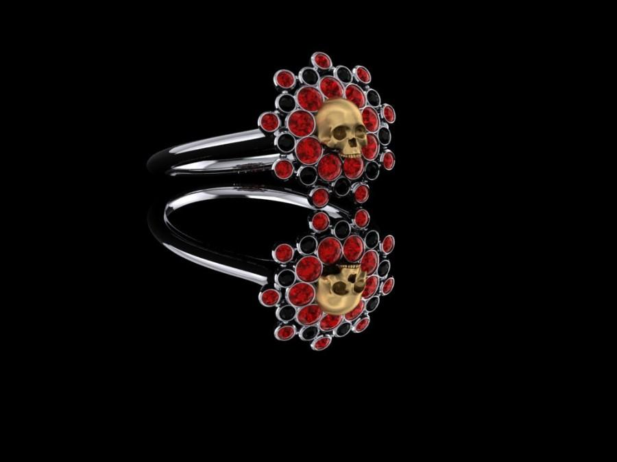 Mariage - Blood Sun Skull Ring with Rubies and Black Diamonds Gold Ring