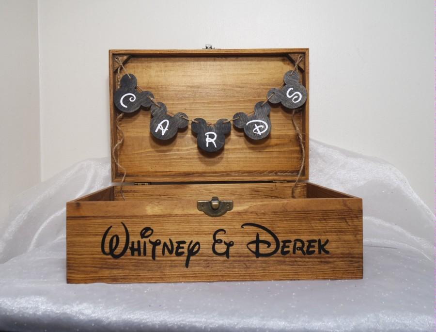 Свадьба - Personalized Disney Card Box, Disney Wedding Card Box, Disney Wedding Box, Disney Wedding, Rustic Wedding, Wooden Wedding Card Box, Disney