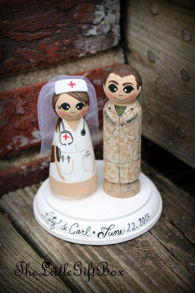 Свадьба - Wedding Cake Topper / Wood Peg Dolls with Plaque - Nurse and Soldier / Army -Navy -Air Force -Marines -Marine Corps -Armed Forces -Military