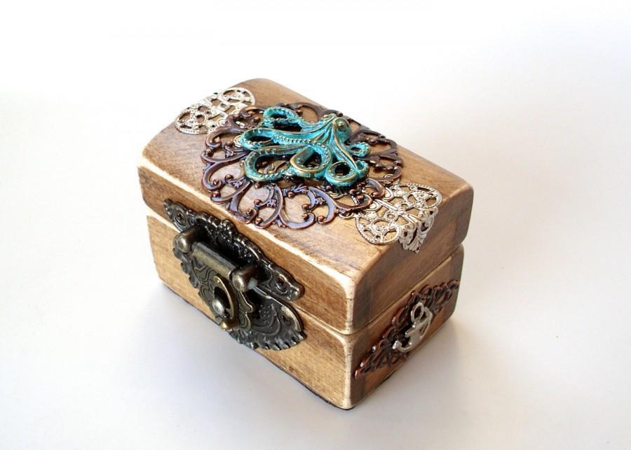 Свадьба - The Kraken Treasure Chest - Nautical Engagement Ring Box - Pirate Treasure Chest - Ring Bearer Box