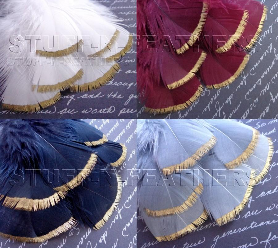 Свадьба - Wholesale / Bulk - GOLD DIPPED feathers – metallic gold hand painted individual turkey feathers / 3-4 in (7.5-10 cm) long / FB115G