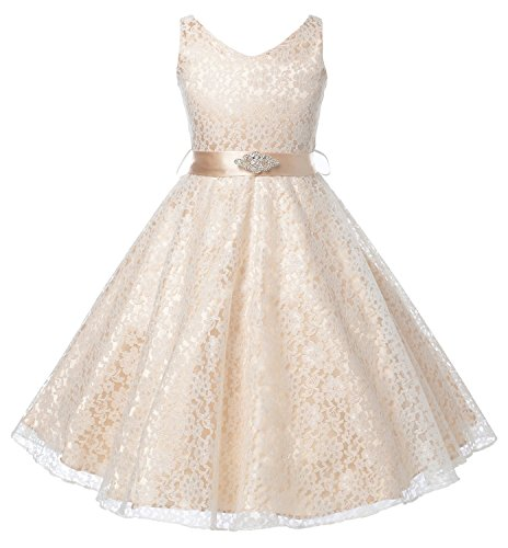 Wedding - Lace V-Neck Flower Girl Dress