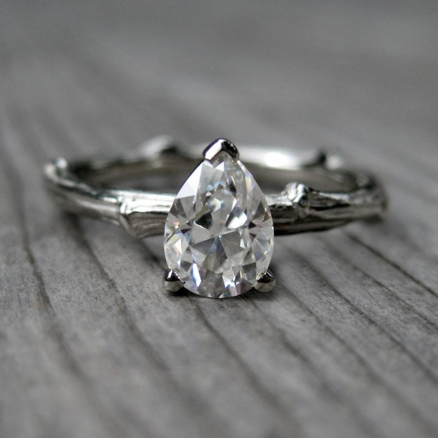 Mariage - Pear Moissanite Twig Engagement Ring: White, Yellow, or Rose Gold; Forever Brilliant ™