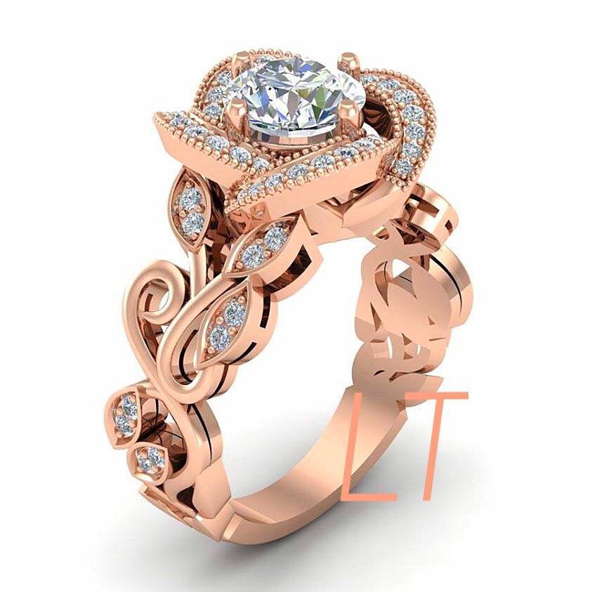 Disneys Beauty And The Beast Princess Belle Swirl Rose Inspired 475Cts White Swarovski Diamond Gold Engagement Bridal Ring