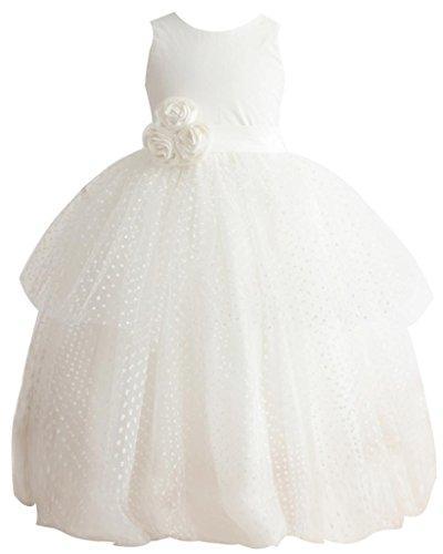 Wedding - Polka Dot Tulle Off White Bow Dream Flower Girl's Dress