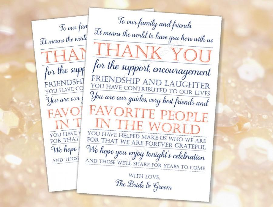 Wedding Reception Thank You Card Navy Coral Instant Download To