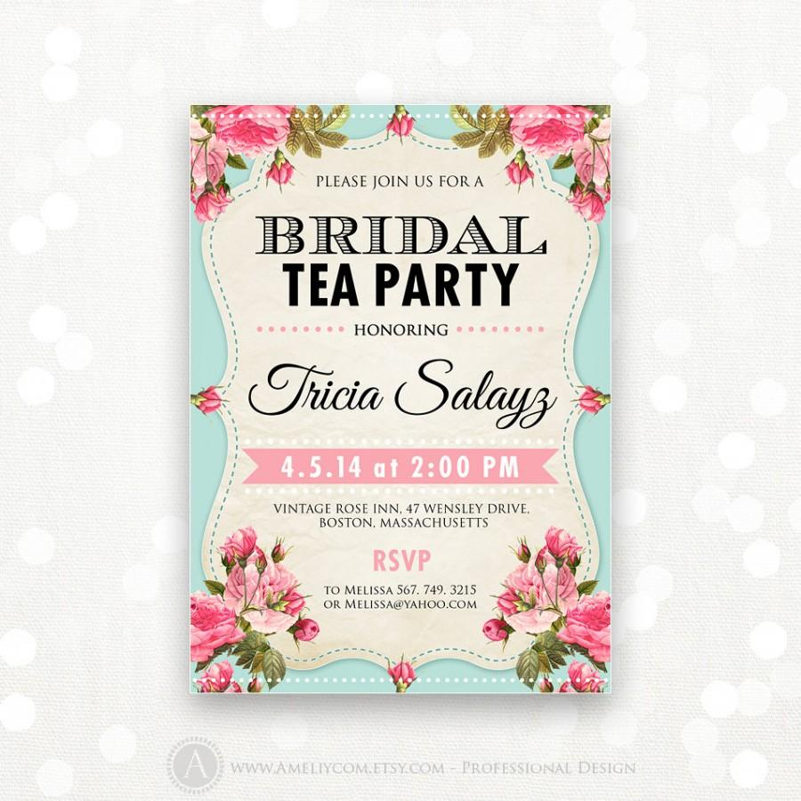 Printable Bridal Shower Invitation, Bridal Tea Party Invite, Bridal Brunch,  Shower The Bride Retro Editable INSTANT DOWNLOAD Digital PDF