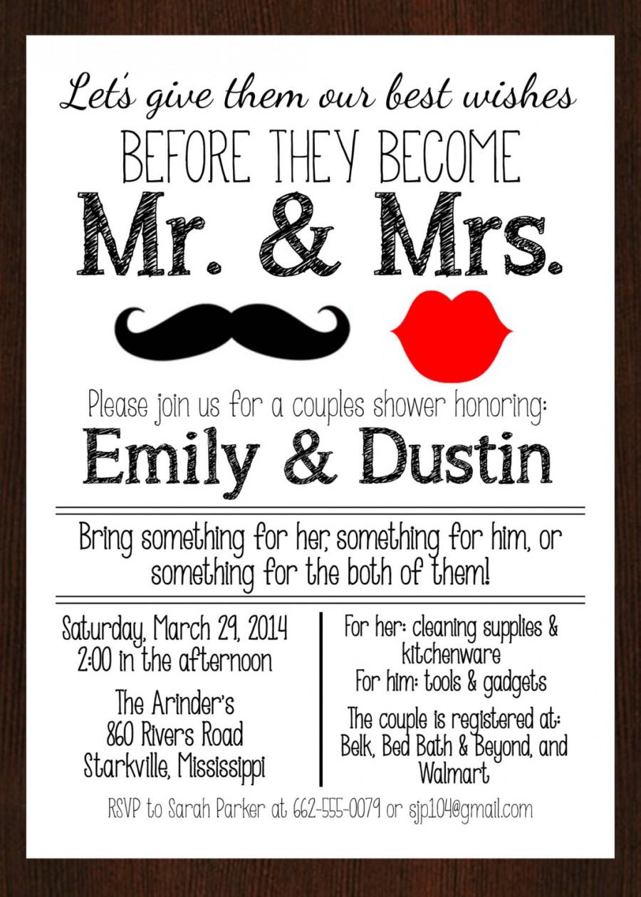 PRINTABLE Mr & Mrs. Couples Wedding Shower Invitation, Lips And ...