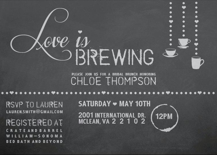 love is brewing chalkboard bridal shower invite