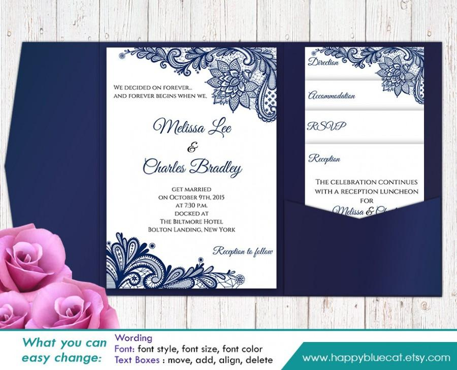 Sale printable pocket wedding invitation template set for Wedding invitation template for sale