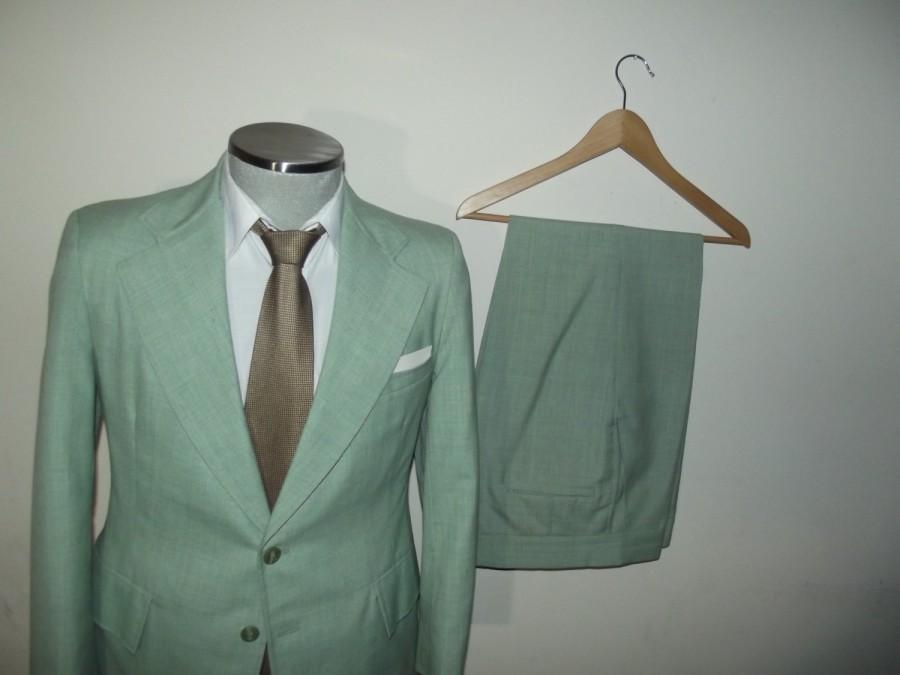 Свадьба - Classic 2pc Mint Green Suit / Vintage 1970s Two Piece Jacket Pants / Size 38R / Medium / Med / M / Rare