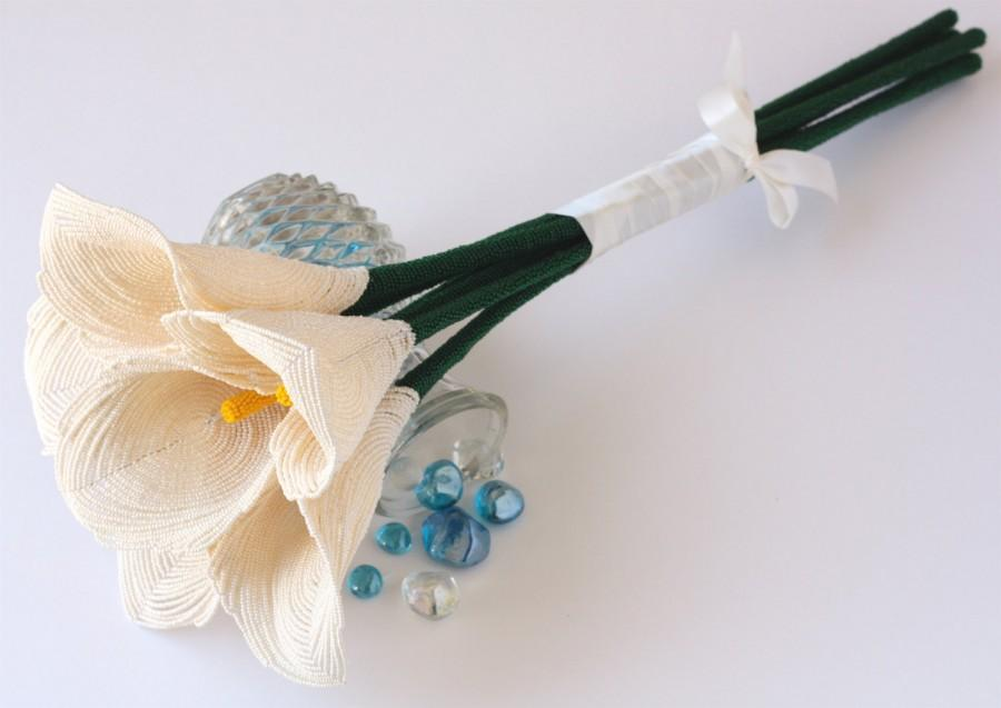 Свадьба - Calla Lily Bouquet, Alternative Bouquet, French Beaded Flowers Wedding Flowers for Brides and Bridesmaids