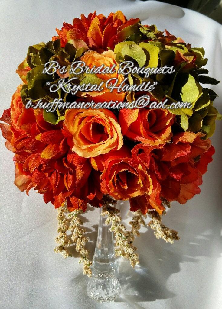 "Свадьба - Bridal Bouquet, Orange, Peach, ""Krystal Handle"" Silk Bridal Bouquet ""Bonnie"""
