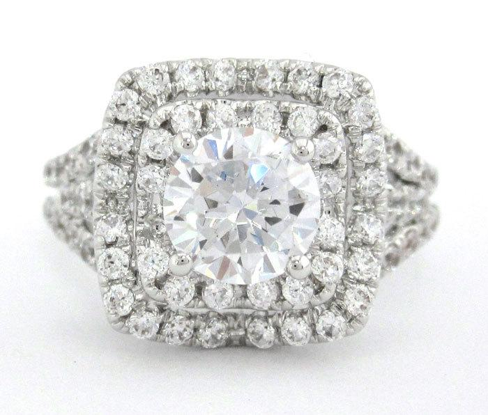 Mariage - Round cut diamond engagement ring french pave setting 1.35ctw