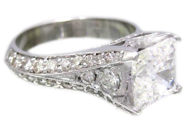 Mariage - 14k white gold princess cut diamond engagement ring art deco 2.50ctw