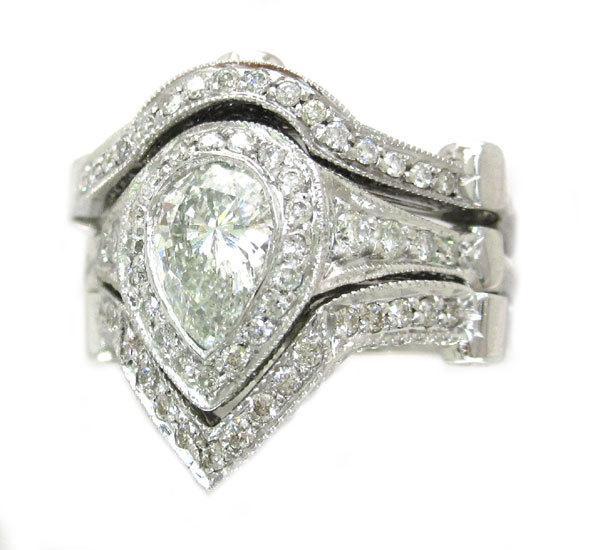 Wedding - 14k white gold pear cut diamond engagement ring and 2 bands bezel set 3.00ctw