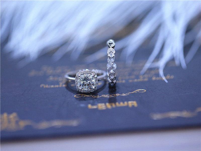 Wedding - 2 Rings- 6.5mm Cushion Moissanite Wedding Set Moissanite Ring W/ Unique 14K White Gold Diamond Wedding Band Moissanite Engagement Ring Set