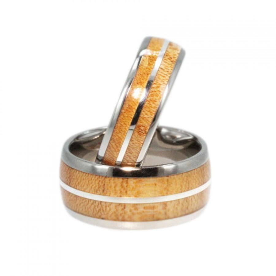 Hochzeit - Maple Wood Ring Set, Titanium Bands, Sterling Silver Pinstripe, Ring Armor Included