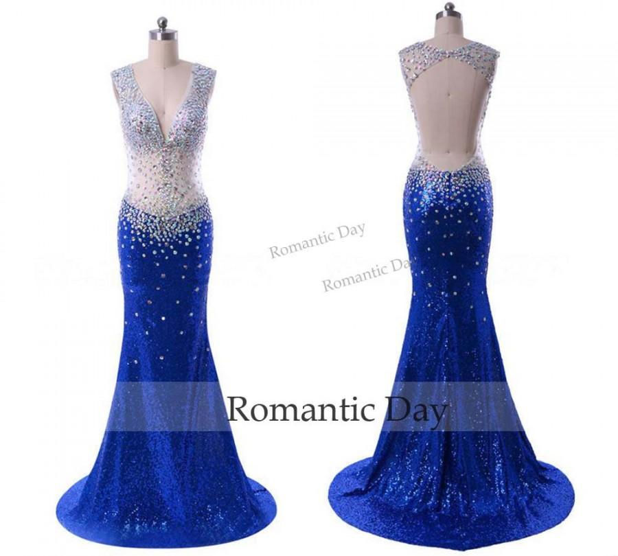Свадьба - Backless Prom Dresses Sheer Crystal Dress 2016 Royal Blue Mermaid Sequin Evening Gown Beading Sweep Train 0531