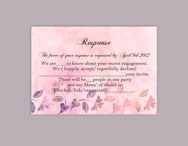 Mariage - DIY Rustic Wedding RSVP Template Editable Word File Instant Download Rsvp Template Printable RSVP Cards Pink Rsvp Card Floral Rsvp Template