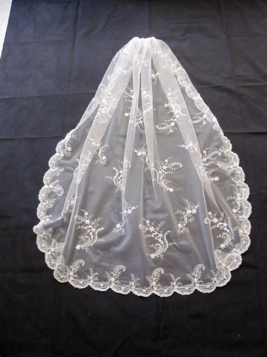 Wedding - The Victoria Veil.  Beaded and Embroidered - a Classic