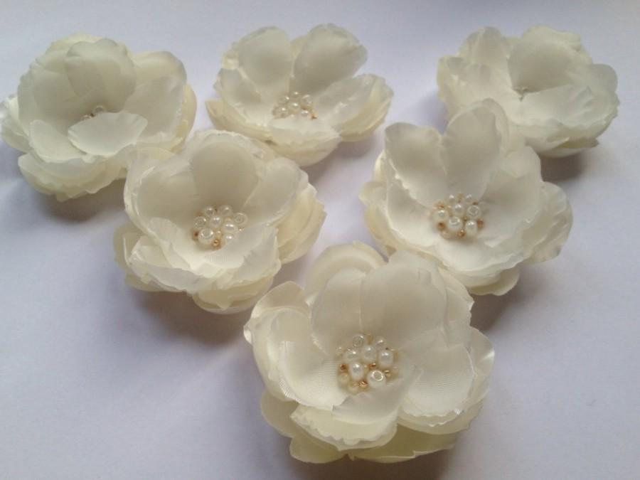 Bridal Flower Headpiece Handmade Fabric Flower Ivory Flower Pin Bridesmaid Hair Accessories