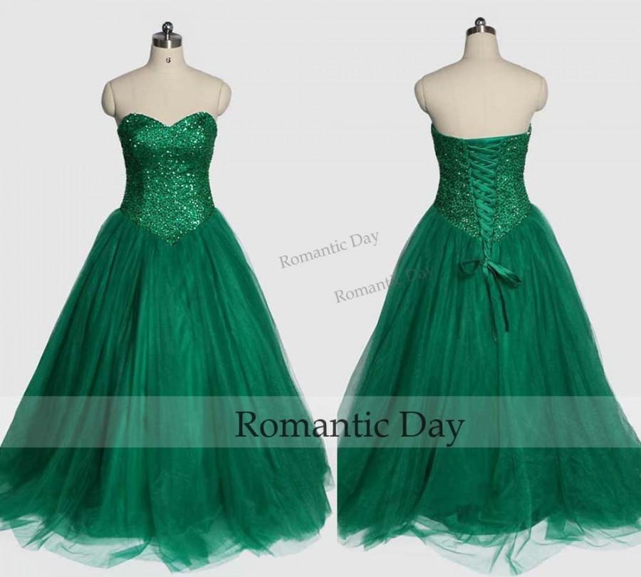 Hochzeit - Bling Bling Fluffy Green Prom Dresses 2016 Sweetheart Beads Corset Back Evening Gowns 0496