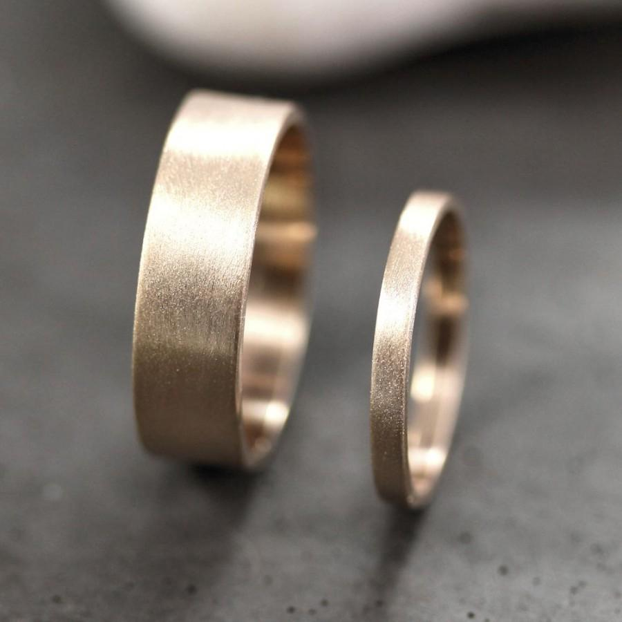 gold wedding band set his and hers 6mm and 2mm brushed flat 10k recycled yellow gold wedding ring set gold rings made in your sizes - Flat Wedding Rings