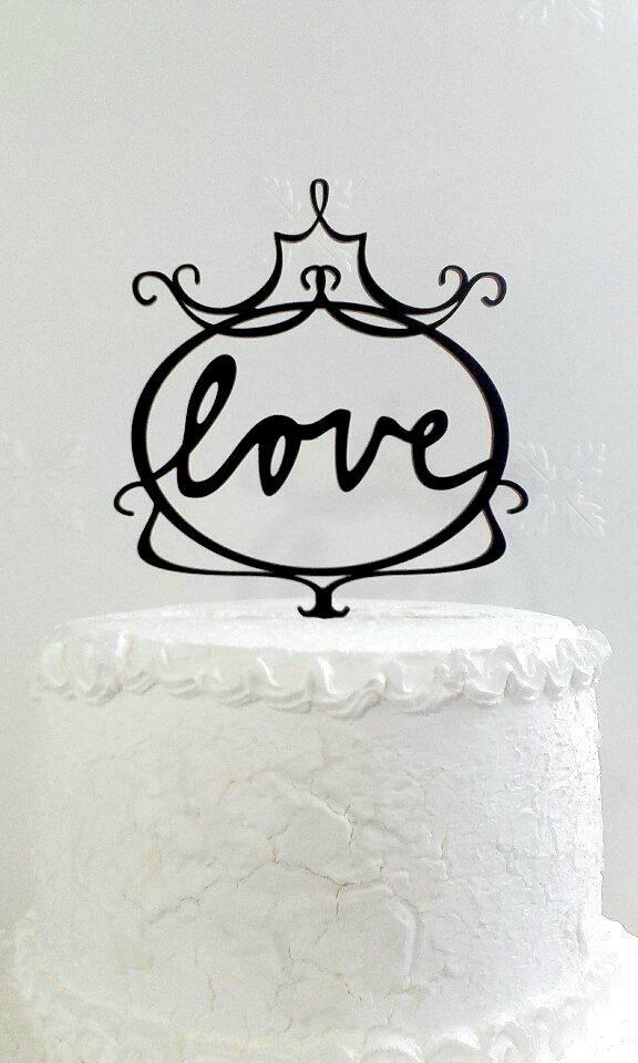 Свадьба - ove Cake Topper - Custom Wedding Cake Topper