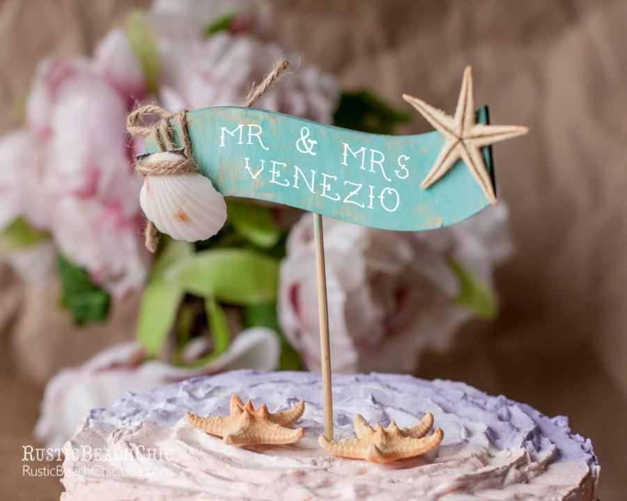 Beach Wedding Cake Topper Banner With Starfish And Shell Mr