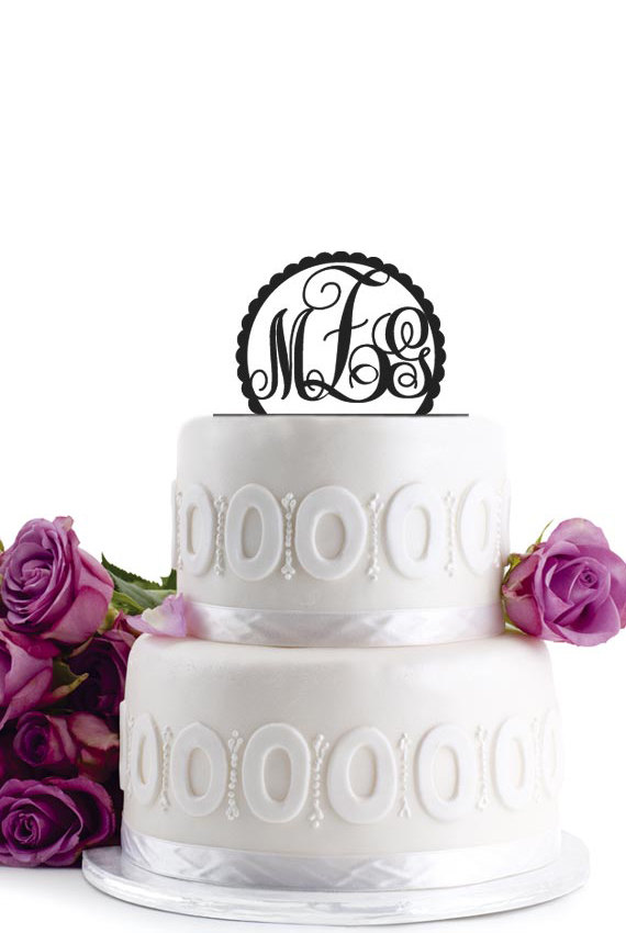 Mariage - Wedding Cake Topper -  Initial Wedding Decoration - Cake Decor Personalized Wedding Cake Topper - Monogram Cake Topper