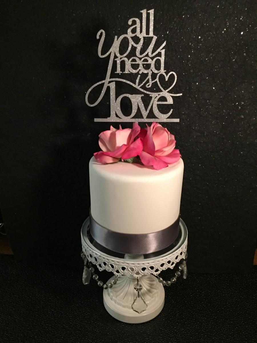 Hochzeit - All You Need Is Love, All You Need is Love Cake Topper, All You Need is Love Wedding Cake Topper, Beach Wedding Cake Topper