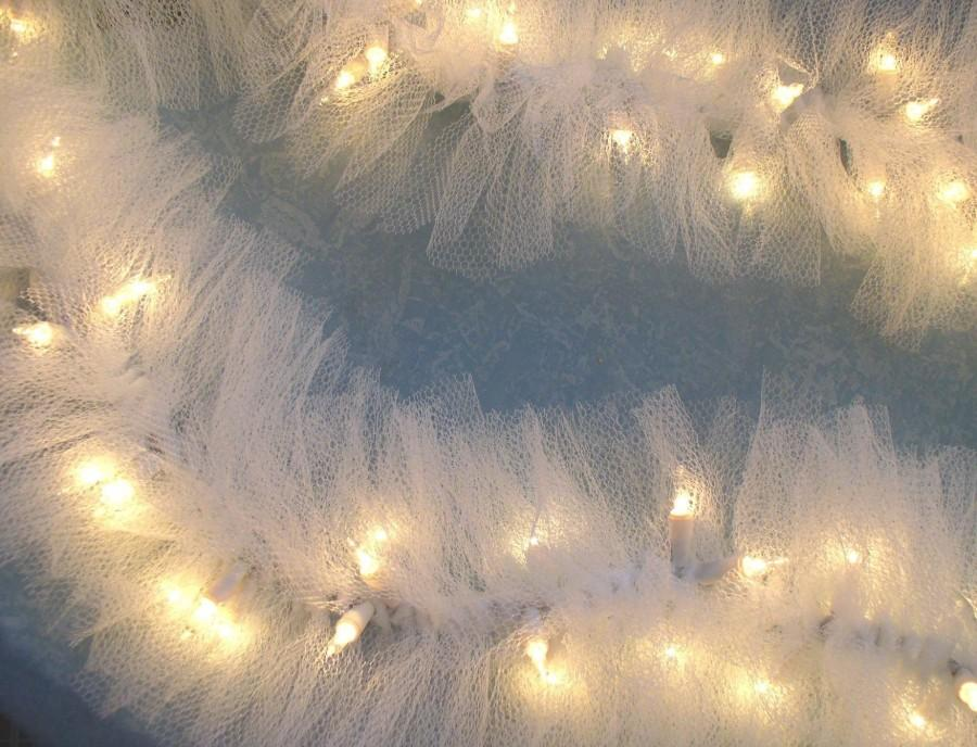 Hochzeit - Beautiful Lighted Swag Garland White TULLE on STRING LIGHTS wedding or home