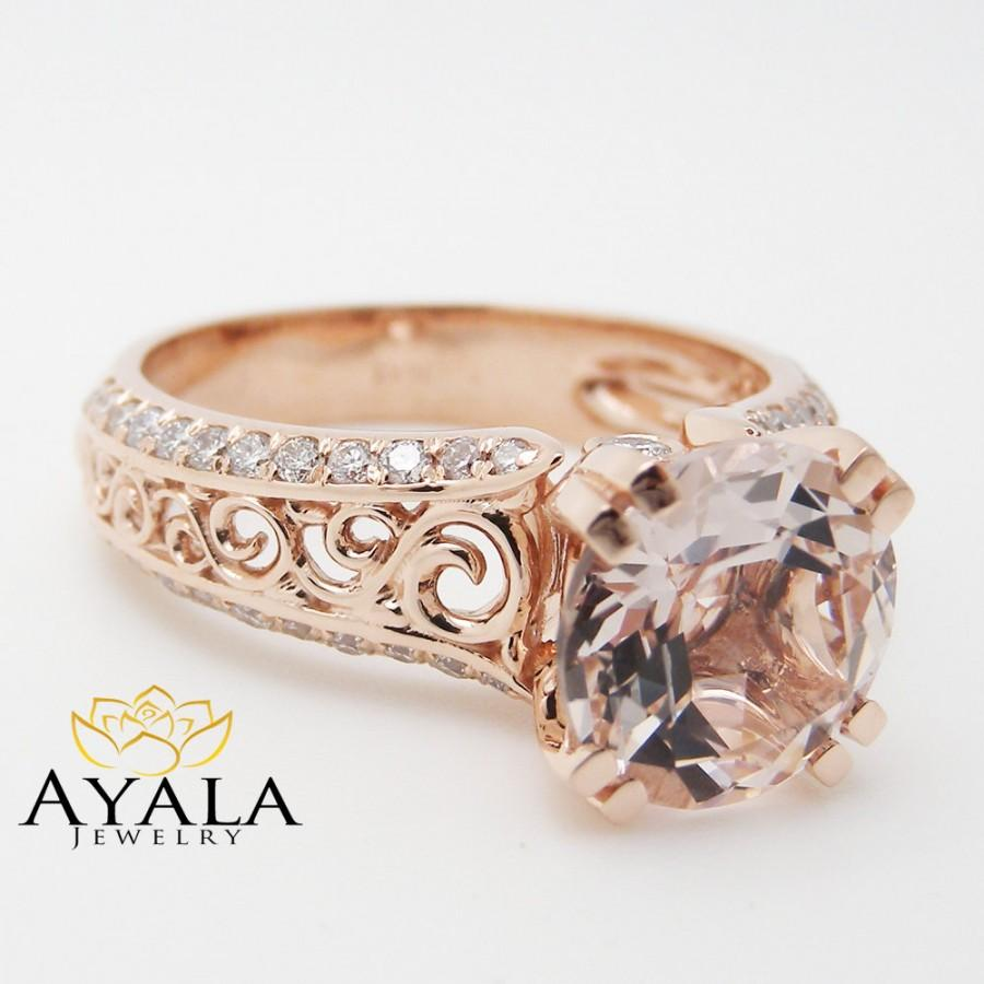 unique rose gold engagement ring 14k rose gold morganite engagement ring art deco engagement. Black Bedroom Furniture Sets. Home Design Ideas