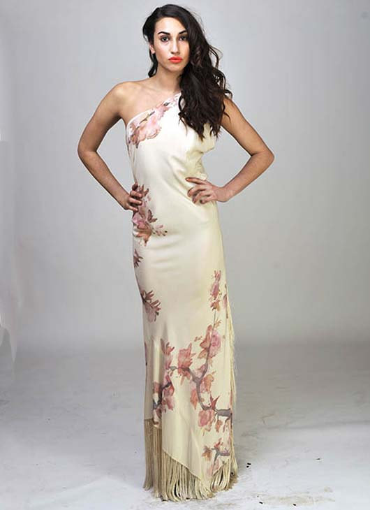 Wedding - Handpainted Weeping Cherry Fringed Silk Wedding Dress