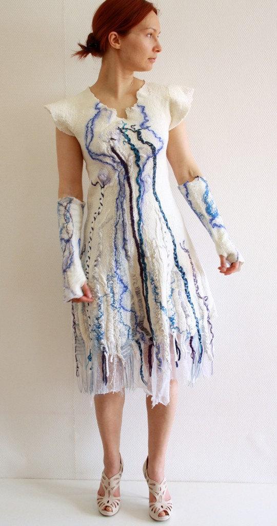 Nuno Felt Dress Alternative Wedding Bohemian Gown Bridal White Blue Tribal Short