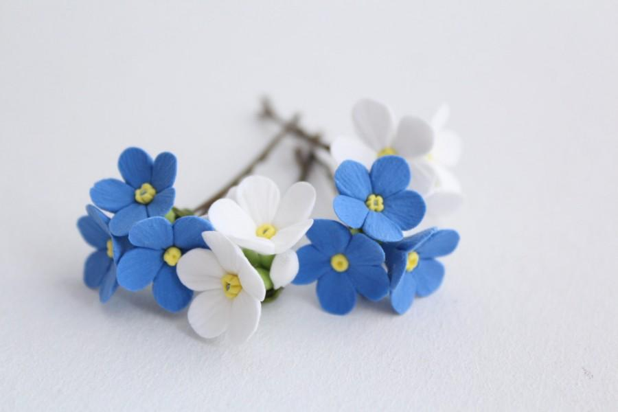 Hair Bobby Pin Flowers Six Pin White And Blue Forget Me Not Set Of
