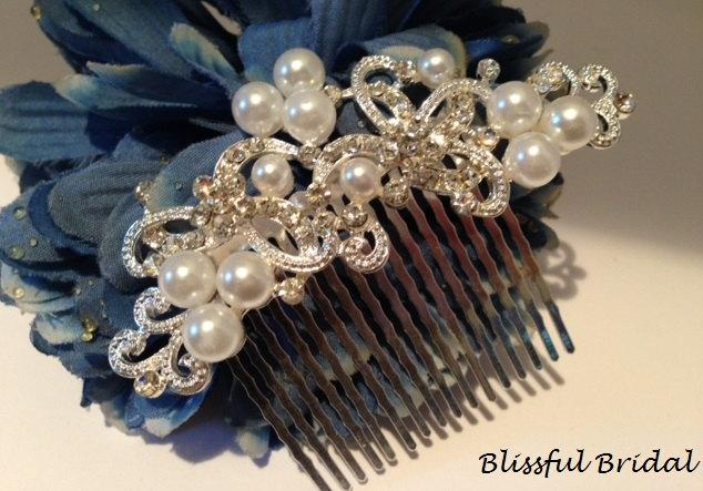 Mariage - Pearl Wedding Comb, Bridal Hair Comb, Crystal Pearl Comb, Wedding Hair Comb, Pearl Comb for Bride