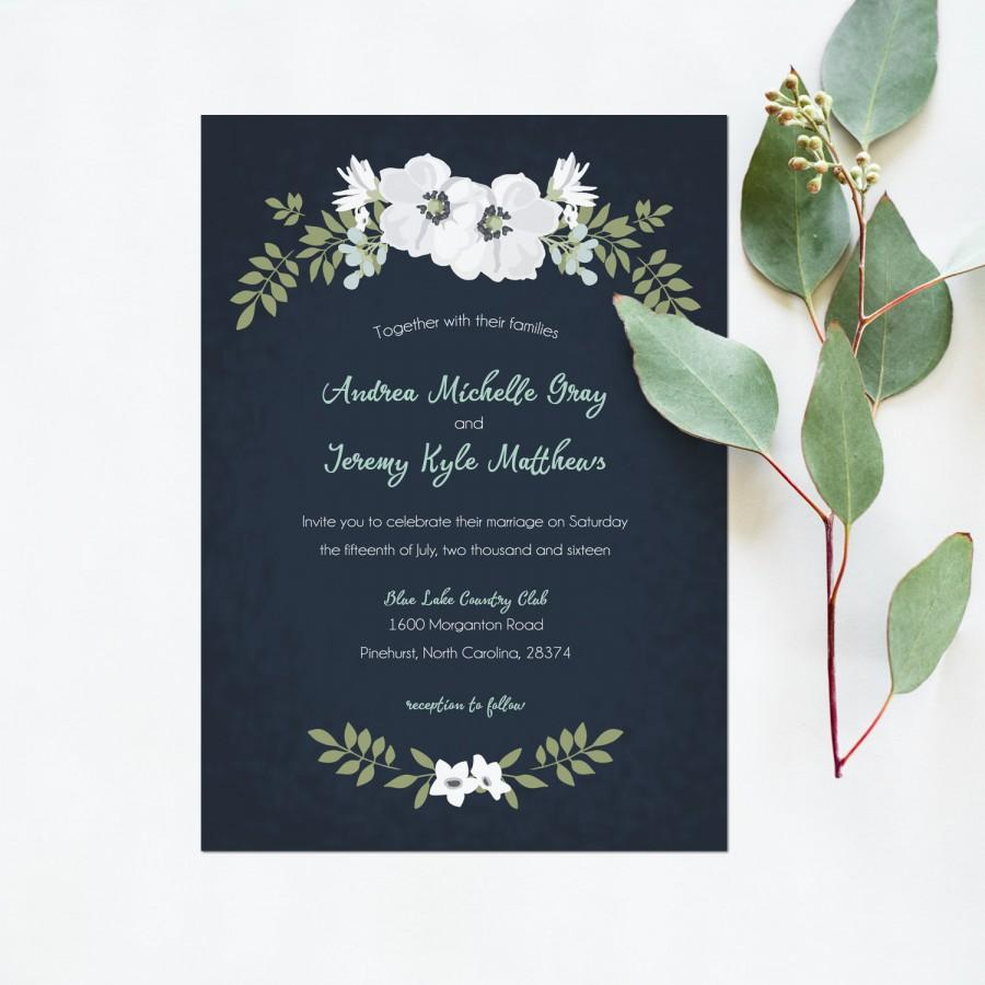 wedding invitation printable navy mint white wedding invite