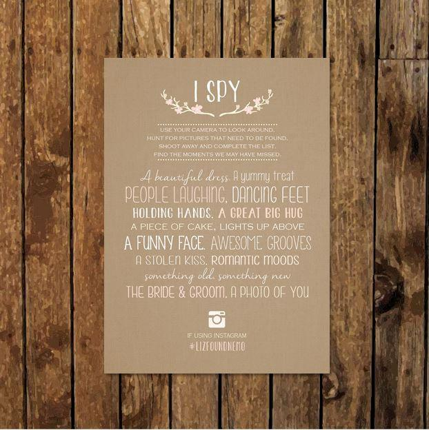 I Spy Game For Wedding Reception. Photo Scavenger Hunt. DIY ...
