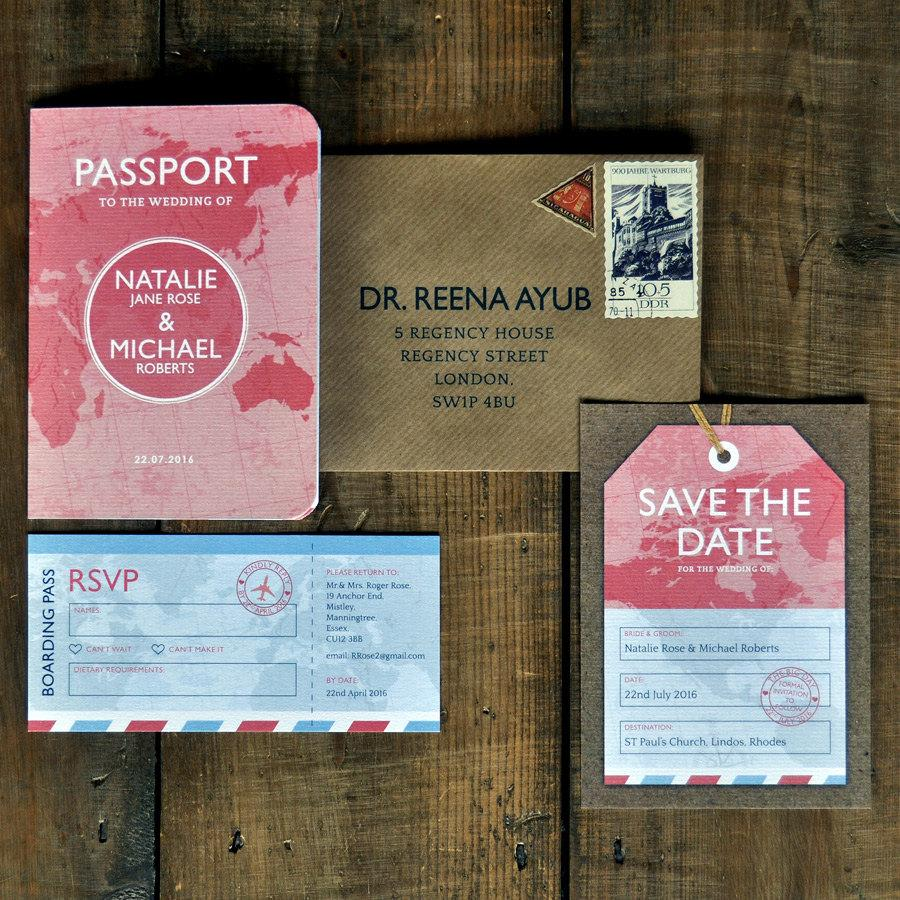 Passport - Wedding Invitation Set & Save The Date Card Or Magnet ...