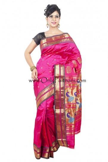 Hochzeit - Bright pink paithani saree with grey border