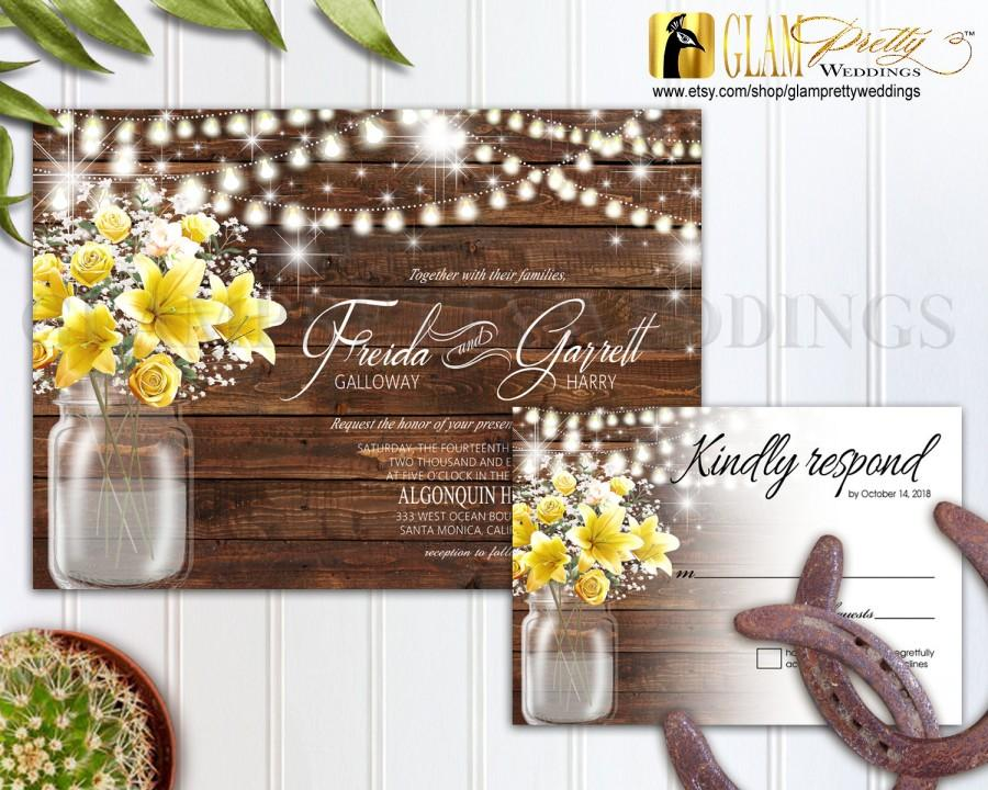 Country Rustic Outdoor Wedding Invitation RSVP Card Mason Jar Barn Wood Yellow Flowers String Lights