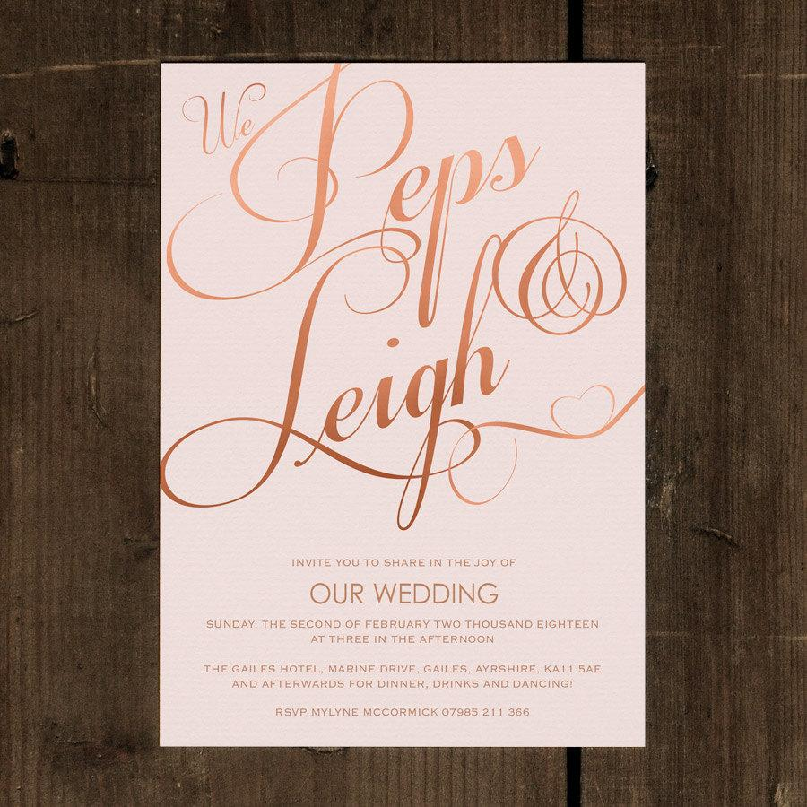 elegant classic wedding invitation set on luxury card modern wedding invites wedding invitations uk popular in blush pink rose gold - Modern Wedding Invites