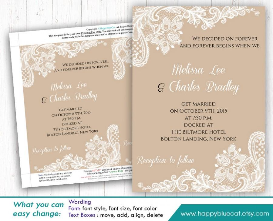 DiY Printable Wedding Invitation Template   Instant Download   EDITABLE  TEXT   Rustic Burlap Lace 5  Microsoft Word Invitation Templates