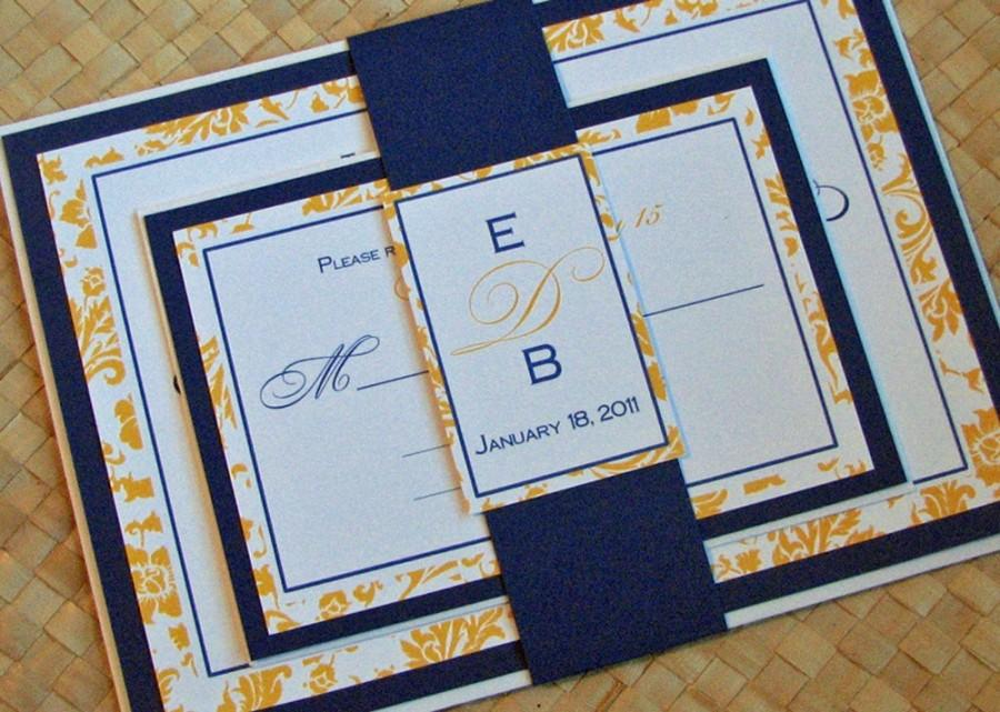Damask Wedding Invitation In Yellow And Blue #2466823 - Weddbook